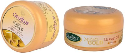 Clear Face 24 Carat Gold Dust Almond Oil Massage Gel With 24 Carat Gold Massage Gel (Set Of 2)