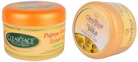 Clear Face Papaya Orange Scrub Gel With 24 Carat Gold Dust Almond Oil Massage Gel (Set Of 2)
