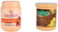 Clear Face Kesar Chandan Nourishing Skin Cream With Gold Pack (Set Of 2)