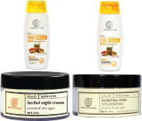 Khadi Natural Day & Night Cream With Sunscreen Lotion Combo Pack Of 4 (Set Of 4)