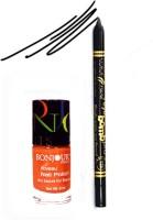 Bonjour Paris Color Fever 911 Black Pro Kajal+Orange Nail Polish (Set Of 2)