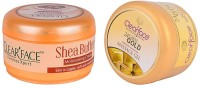 Clear Face Shea Butter Moisturising Cream With 24 Carat Gold Dust Almond Oil Massage Gel (Set Of 2)