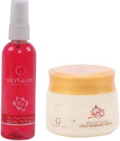 Oxyglow Rose Petal Refershing Skin Toner & Saffron With Vitamin-E Gold Massage Cream (Set Of 2)