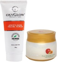 Oxyglow Apricot & Jojoba Facial Scrub & Fruit Massage Cream With Vitamin-E (Set Of 2)
