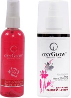 Oxyglow Rose Petal Refershing Skin Toner & Saffron & Sandal Fairness Lotion (Set Of 2)