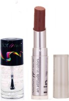 Color Fever 930 Topcoat Nail Polish+ChocolateLipstick (Set Of 2)
