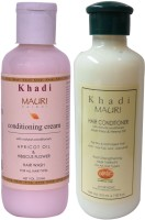 KHADI MAURI Herbal Hair Conditioner & Cream Shampoo Combo Pack Of 2 Ayurvedic Natural 210 Ml Each (Set Of 2)