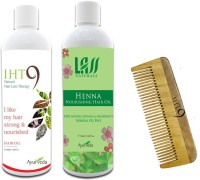 Lass Naturals Iht9 Hair Oil With Henna Hair Oil+Neem Wood Hair Comb LC-3 (Set Of 3)
