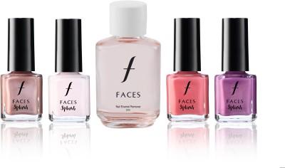 Faces Combos and Kits Faces Splash Nail Enamel Silken Pink+Ballerina+Cotton Candy+Get Mauving+Nail Enamel Remover