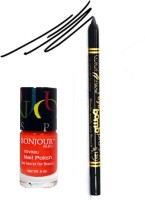 Bonjour Paris Color Fever 901 Black Pro Kajal+Orange Nail Polish (Set Of 2)