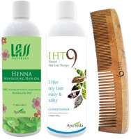 Lass Naturals Henna Hair Oil With Iht9 Natural Hair Conditioner+Neem Wood Hair Comb LC-2 (Set Of 3)