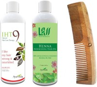 Lass Naturals Iht9 Hair Oil With Henna Hair Oil+Neem Wood Hair Comb LC-2 (Set Of 3)