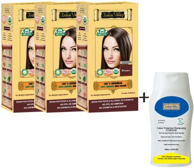 Indus Valley 100% Organic Botanical Brown Pack Of 3 Hair Color & CP Shampoo Combo Set (Set Of 4)