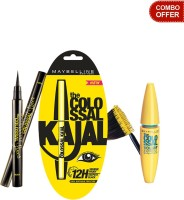 Maybelline The Colossal Kajal (Black) With The Colossal Liner And Volum Express Colossal Mascara ( Glam Black) (Set Of 3)