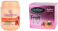 Clear Face Kesar Chandan Multivitamin Nourishing Skin Cream With Fruit Cream Bleach (Set Of 2)