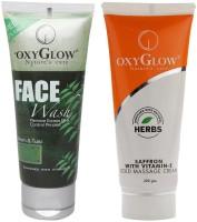 Oxyglow Neem & Tulsi Face Wash & Saffron With Vitamin-E Gold Massage Cream (Set Of 2)