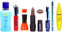 Rythmx Brown Lipstick Orange Nail Polish Remover Skinny Liquid EyeLiner Sindoor Pro Non Transfer Turquoise Blue Kajal Bold Look Maskara Color Fever Kit 6866 (Set Of 7)