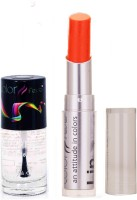 Color Fever 940 Topcoat Nail Polish+Orange Lipstick (Set Of 2)