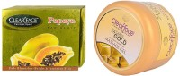 Clear Face Papaya Facial Kit & Gold Dust Almond Oil Massage Gel (Set Of 2)