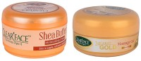 Clear Face Shea Butter Moisturising Cream With 24 Carat Gold Massage Gel (Set Of 2)