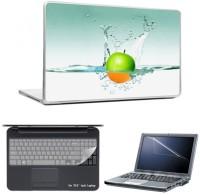 Skin Yard Green Orange Apple In Water Laptop Skins With Laptop Screen Guard & Laptop Keyguard -15.6 Inch Combo Set