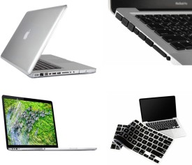 Pindia Apple Transparent Crystal Finish Apple Macbook Air 11 11.6 inch Md224Hn/A? & Md224Ll/A? Hard Case Shell Cover Black Anti Dust Ports Keyboard Screen Guard Combo Set