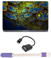 Skin Yard Big Glowing Flower Laptop Skin -14.1 Inch With USB LED Light & OTG Cable (Assorted) Combo Set