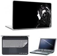 Skin Yard Music Girl With Black Background Laptop Skins With Laptop Screen Guard & Laptop Keyguard -15.6 Inch Combo Set