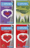 Convex Monthly Pack Special Combo Dotted : Aloevera, Prolonger : Blueberry, Strawberry, Redcurrant (Set Of 4, 40S) Condom (Set Of 4, 40S)