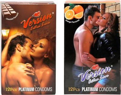 Version Extra Love Platinum Combos of Chocolate and Orange Flavour Condom