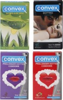 Convex Monthly Pack Special Combo Dotted : Mint, Aloevera, Prolonger : Strawberry, Blueberry (Set Of 4, 40S) Condom (Set Of 4, 40S)