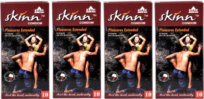 Skinn With Benzocaine Pleasure Condoms Apple Flavoured 4 combo pack
