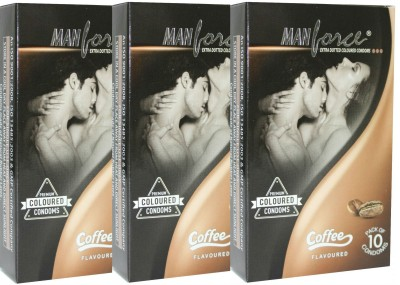 Manforce Extra Dotted Coffee Monthly Combo Condom Set of 3, 10S