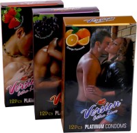 Version Extra Love Platinum Combos Of Orange, Black Grape And Strawberry Flavour Condom (Set Of 3, 36S)