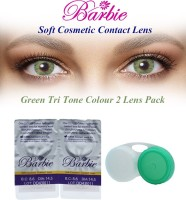Barbie Tri Tone Zero Power With Case By Visions India Monthly Contact Lens (Green-0.00, Green, Pack Of 2)