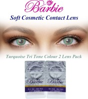 Barbie Tri Tone Turquoise Zero Power By Visions India Monthly Contact Lens (Turquoise-0.00, Turquoise, Pack Of 2)