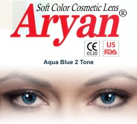 Aryan 2 Tone Aqua Blue Yearly Contact Lens By Visions India Yearly Contact Lens (-6.50, Aqua Blue, Pack Of 1)