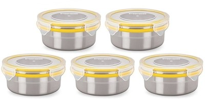 Steel Lock Airtight Storage Food Lock Canisters 5 Pc 1301 Set  - 400 ml Stainless Steel, Plastic, Silicone Food Storage at flipkart