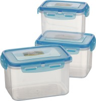 Polyset Blue, Clear Superlocked Rectangle Container 3pcs set with Silver Nano - 600 ml, 1120 ml, 1840 ml Food Container: Container