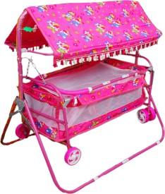 Brats N Angels Pink Baby Cradle Cum Cot Cum Stroller Bassinet