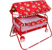 Brats N Angels Red Baby Cradle Cum Cot Cum Stroller Bassinet (Red)