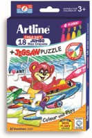 Artline Jumbo Crayons & Jigsaw Puzzle Round Shaped Wax Washable Crayons (Set Of 1, Multicolor)