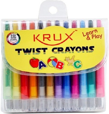 Krux Learn & Play Round Shaped Crayons Crayons (Set Of 12, Mix)