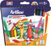 Artline Broad & Fine Tip Round Shaped Plastic Washable Crayons (Set Of 1, Multicolor)