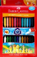 Faber-Castell Erasable Triangular Shaped Plastic Crayons (Set Of 1, Assorted Colours)