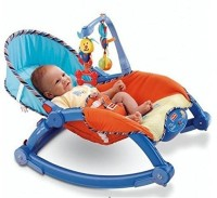 Smiles Creation Newborn-To-Toddler Portable & Folding Rocker Cum Chair With Soothing Vibration & Musical Toy (Multicolor)