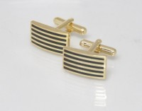 Big Five Deals Rectangular Brass Cufflinks - Black, Gold - CTPDPZX2XYM9BBCS