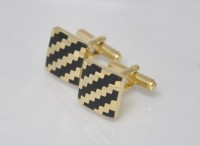 Big Five Deals Square Brass Cufflinks - Black, Gold