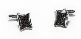 Silverwala Cz Curved Silver Cufflinks - Silver - CTPDQZGFPKRTFHTW