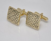 Big Five Deals Designer Brass Cufflinks - Black, Gold - CTPDMCSVNHCM3ZRH